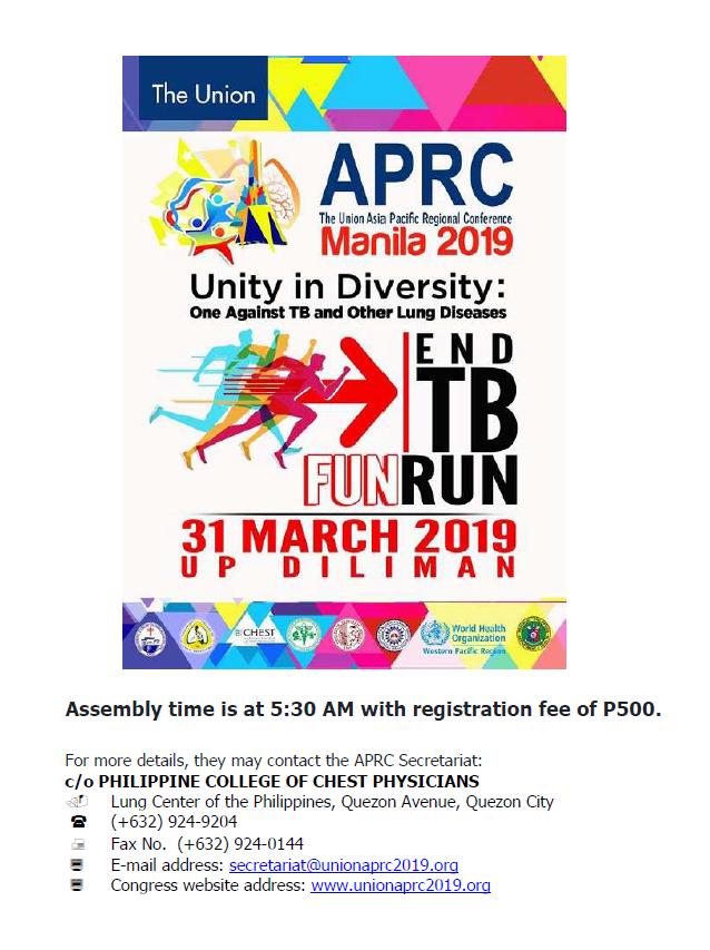 End TB Fun Run March 31, 2019