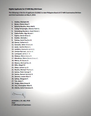 Eligible Applicants for the CT-MRI May 2014 Exam